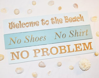 Engraved Welcome to the Beach, No Shoes No Shirt, No Problem Sign | 20x15 | Beach House | Vacation | Pallet Wood | Laser | Engraved |
