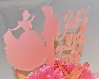 When You Wish Upon A Star | Cinderella and Fireman | Custom Cake Topper | Wedding | Bridal Shower | Engagement Party | Love | Acrylic |