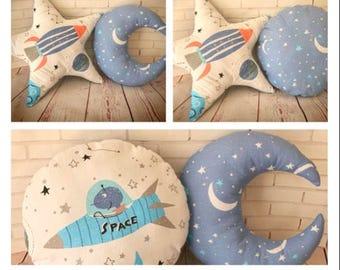 Cushions for boy's nursery and bedroom , decorative pillows for boys, nursery decor, space, rocket, nautical, anchor, dinosaurs, UFO