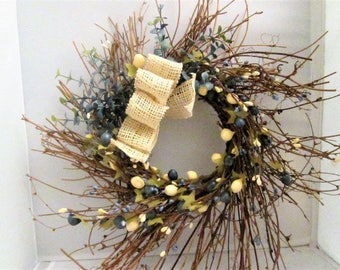 Grapevine Wreath, Farmhouse Decor, Candle Ring, Shabby Chic, Prim Floral Decor, Pip Berry Wreath, Farmhouse Wreath, Coastal Berry Wreath,
