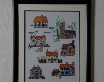 Framed Needle Work Wall Decor Picture  35x43 cm  Houses