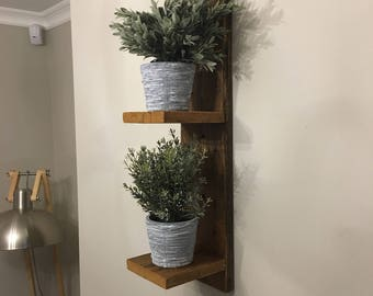 Floating 2 Tier Wooden Plant Shelf - Sconces - Wall storage - Reclaimed pine