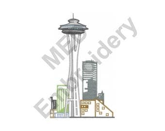 Seattle Skyline - Machine Embroidery Design, Seattle - Machine Embroidery Design
