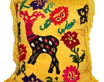 uzbek silk handmade embroidered suzani cushion pillow cover pillow  1220