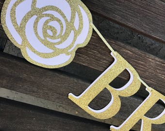 BRIDE TO BE Banner Garland ~ Blush & Gold Glitter ~ More Colors