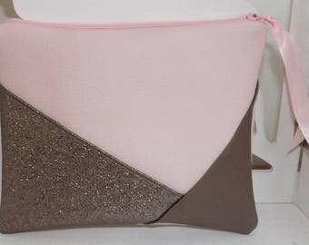 Faux glitter and pastel leather pouch!