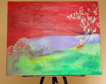 Original, 14x30, acrylic on gallery canvas, contemporary Abstract Landscape