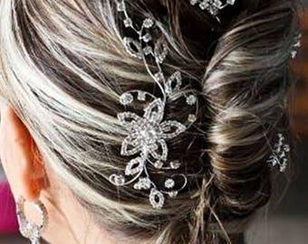 Bridal Romantic Crystal Flower & Leaves Hair Comb Rhinestone Crystal Clear