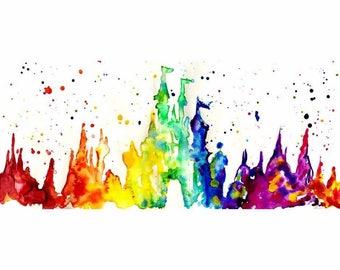 Disney Castle Ink Silhouette Print