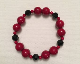 Red and Black Stretch Bracelet