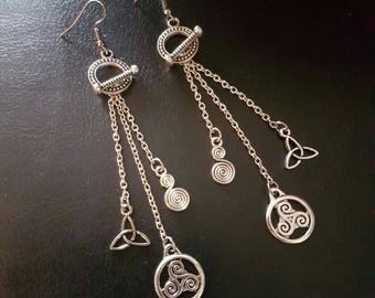 Pagan/viking inspired DAY to NIGHT drop tassel earrings. 2 in 1 pair. charm/triskelle/chain/frigg/freyja/odin/thor/triquetra/celtic/knot