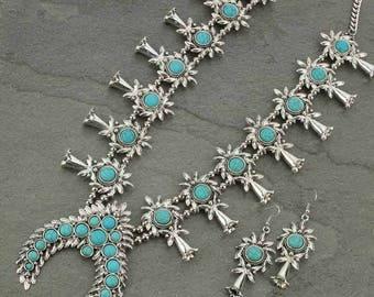 Western Squash Blossom Necklace Set-HN6625SBTQ006
