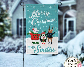 Personalized Christmas Garden Flag - Christmas Friends Garden Flag