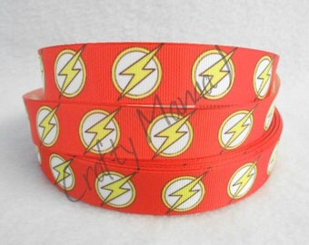 "The Flash Comic Super Hero Symbol on 7/8"" Grosgrain Ribbon by the yard. Choose between 3/5/10 yards."