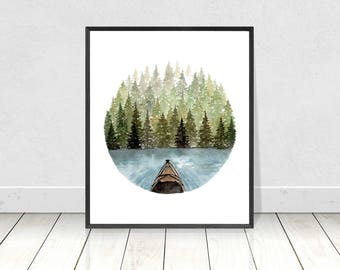 Kayaking to the Island Painting Giclee Art Print- Watercolor Camping Fine Art Print- Home Decor Wall Art Prints- Sizes from 8X10 to 18X24
