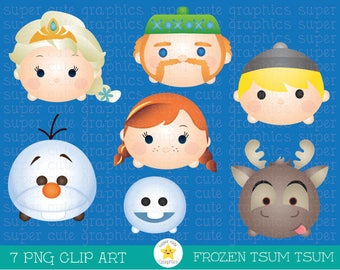 Frozen Tsum tsum clipart, tsum tsum graphics, intstant download, party, princess, printable, Elsa, Anna, Sven, Kristoff, Olaf, Oaken