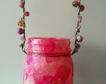 Pink Summer Outdoor Hanging Mason Jar Luminary