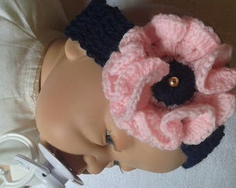 Navy blue girl headband with beautiful pink flower