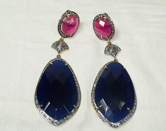 Victorian style 2.50ctw rose cut diamond ruby sapphire long dangler earrings - 2651718