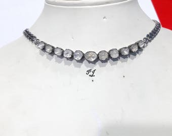 Royal Look Antique Finish 6.70cts Natural Uncut Polki Diamond Single Row Oxidized Sterling Silver Choker Necklace -19061711
