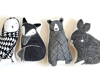 Forest critters stuffed dolls, black and white