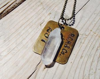 Quartz w/ Vintage Antique Brass Tag