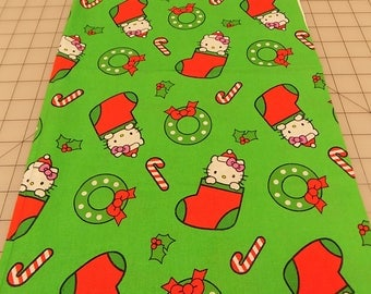 Hello Kitty Fabric, Hello Kitty Stocking Toss, Christmas, Green, Red, Candy Cane, Wreath, Stocking, Sanrio Co, Cotton, Fabric by the Yard