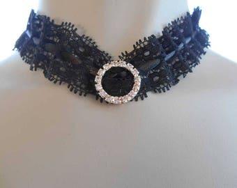 Diamante Black Lace Choker Adjustable Length Ties at Back
