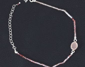 Beaded silver bracelet with peach moon stone & colored garnet