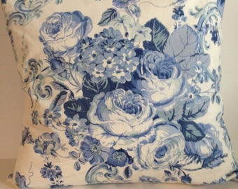 Blue and white 100% Cotton Romantic Roses.