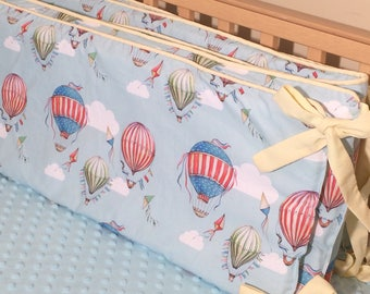 Baby Boy Vintage Hot Air Balloon Bumper Pad - in Blue, Red and Yellow