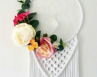 Boho dreamcatcher, boho chic, floral dreamcatcher, floral wall hanging, colourful wall hanging, boho decor, wedding backdrop, nursery gift