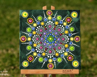 Rainbow Doily original dot art painting acrylic on canvas board