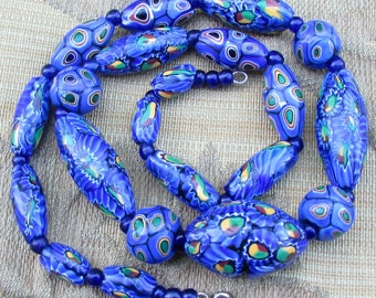 Art Deco Venetian Matched Millefiori Glass Beads Necklace