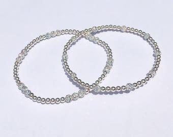 Sterling Silver AB Ball Beaded Bracelet Set
