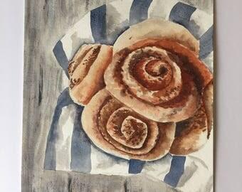 Original watercolor painting of cinnamon rolls