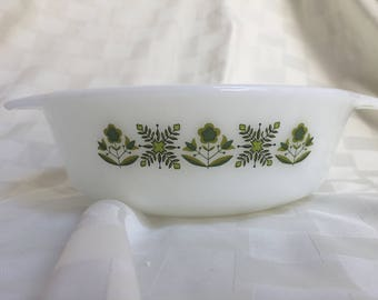 Vintage Fire King Meadow Green Floral 1 Quart Casserole Dish