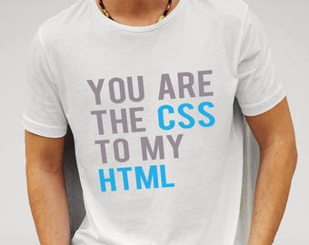 Mens CSS HTML Geeky Hipster Web Design - White T-shirt