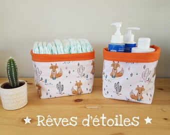 Baskets, baskets, organizers for changing table, Fox layers