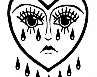 Crying Heart | relief carving | linoleum block print on paper