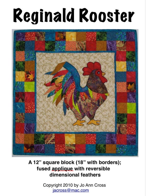 Reginald Rooster quilt pattern : rooster quilt pattern - Adamdwight.com
