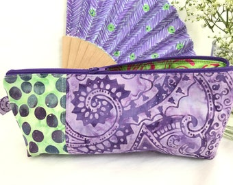 Handmade unique one of a kind batik fabric zipper bag, zipper pouch, cosmetic or makeup bag