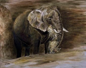 Elephant Original Painting Oil Color High Quality Giclée Print, home decor , office nursery animal art african beast , Handmade gift , PRINT