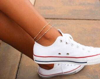 Satellite Chain Anklet / Dainty Gold Anklet / Silver Anklet / Gift for her / Gold Silver Bead Anklet / Gold Chain Anklet / Ankle Bracelet