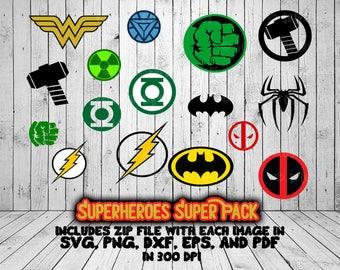 Superhero Cut Files Superpack Wonder Woman, Thor, Spiderman, Ironman, Hulk, Green Lantern, Flash, Deadpool, and Batman SVG png dxf pdf eps