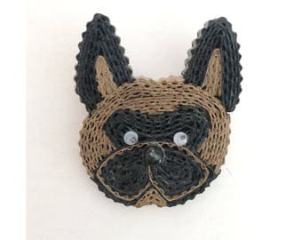 dog brooch made of cardboard