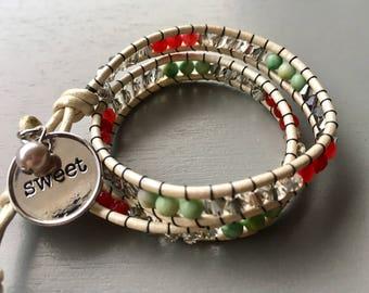 Sweet White Leather Double Wrap Bracelet