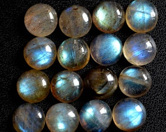 Natural labradorite cabochon round loose gemstone 8 mm AAA Quality
