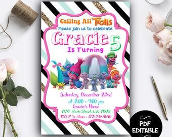 Trolls Birthday Party, Trolls Invitation, Trolls Party, Trolls Invitation Download, Trolls PDF Editable Template, Trolls Instant Download