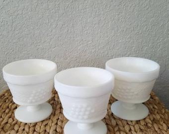 Set of 3 White Vintage Milk Glasses